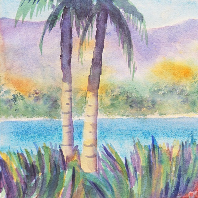 'Tropical Lagoon' by B. Metcalf, Impressionist Landscape With Palm Trees and Bougainvillea For Sale - Image 6 of 7