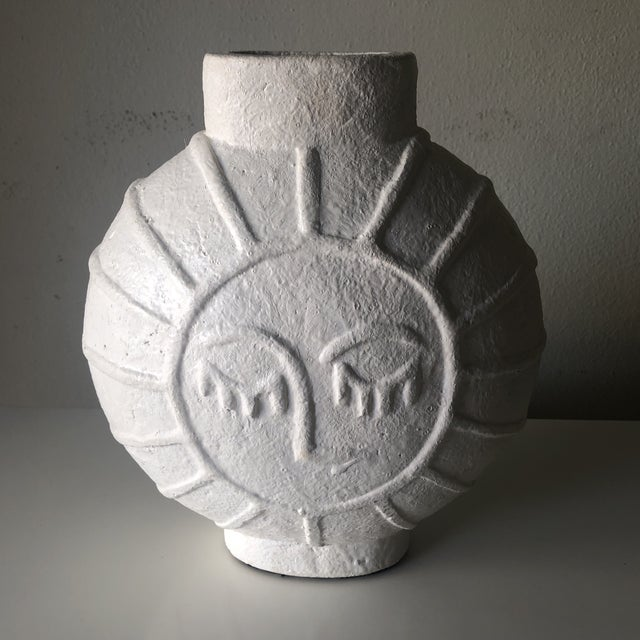 Fantastic retro mid-century vase from Denmark. Unique face is applied in either side.