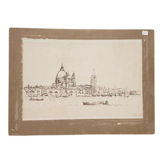 Early 20th Century Brown Wash Sketch of Venice, Italy C.1910 For Sale