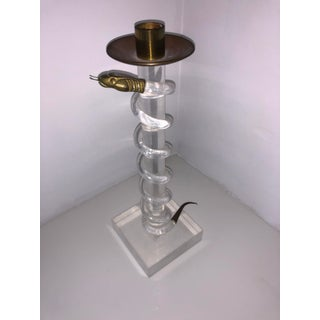 Vintage Alessandro Albrizzi Lucite and Brass Snake Candlestick Preview
