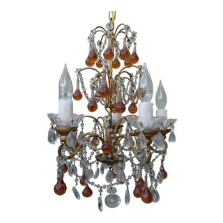 French Crystal Beaded & Amber Drop Chandelier