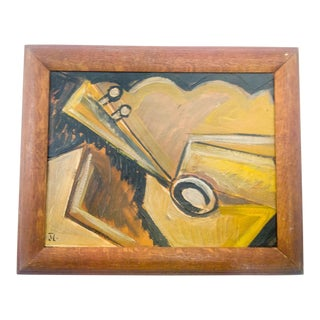 Cubist Instrument Painting Signed by J.L. For Sale