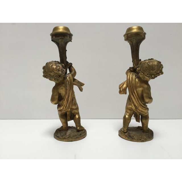 French Antique French Cherub Bronze Dore Candlesticks - a Pair For Sale - Image 3 of 6