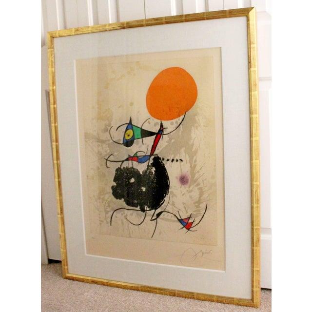 "Orange 1970s Color Etching Aquatint ""Miro Terre Atteinte Et Soleil"" by Joan Miro For Sale - Image 8 of 8"