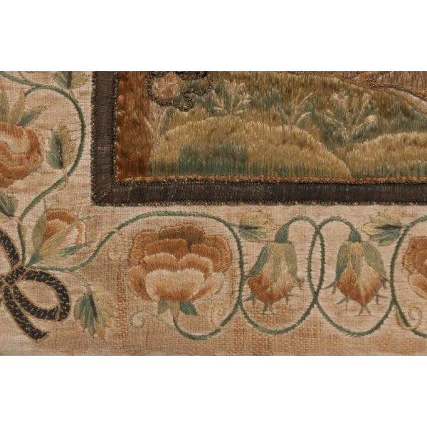 Gold Italian Silk Thread Needlework in Gilt Frame For Sale - Image 8 of 11