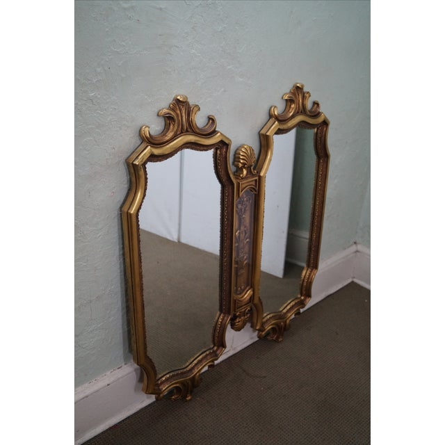 Vintage Hollywood Regency Gold Two-Piece Mirror For Sale - Image 5 of 10