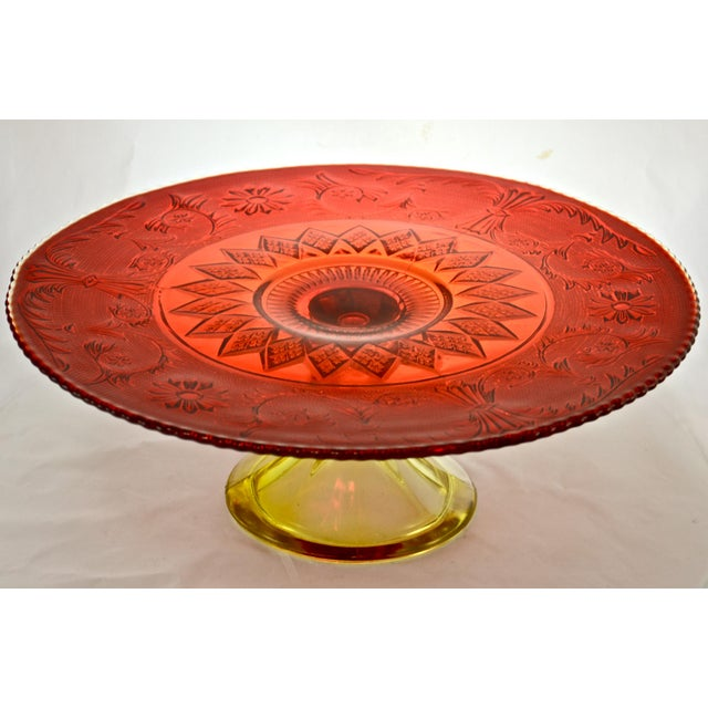 1970s Red & Yellow Amberina Pedestal Cake Stand For Sale - Image 5 of 5