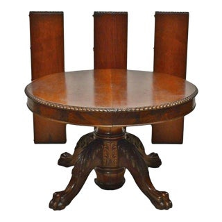 Antique Victorian Mahogany Empire Style Split Base Round Dining Table, 1800's