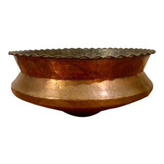 1950s Vintage Persian Hammered Copper Bowl For Sale
