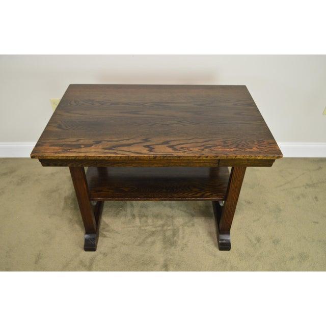 Brown j.k. Rishel Antique Arts & Crafts Mission Oak Library Table Desk No. 811 For Sale - Image 8 of 13