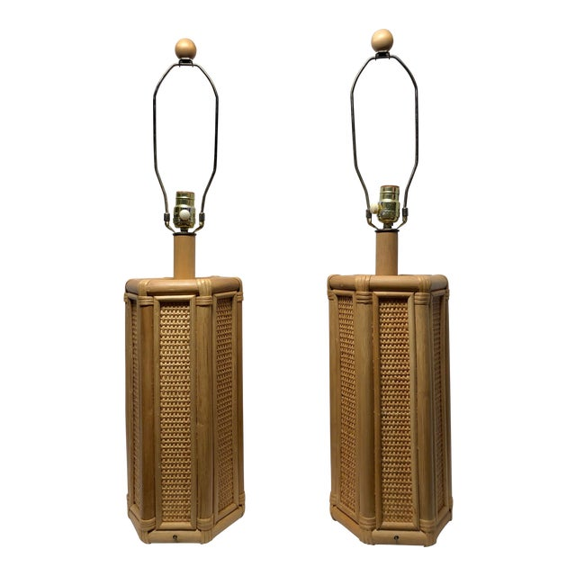 1960s Vintage Coastal Style Rattan & Wicker Lamps- Set of 2 For Sale