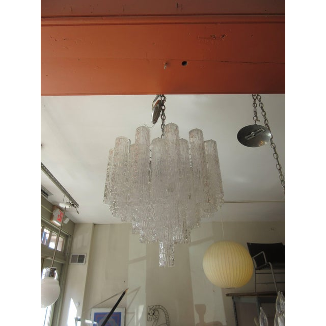 "Glass Venini ""Tronchi"" 40 Crystal Chandelier For Sale - Image 7 of 8"