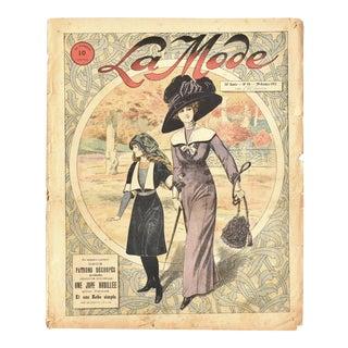 Antique 1911 French La Mode Fashion Magazine Cover For Sale