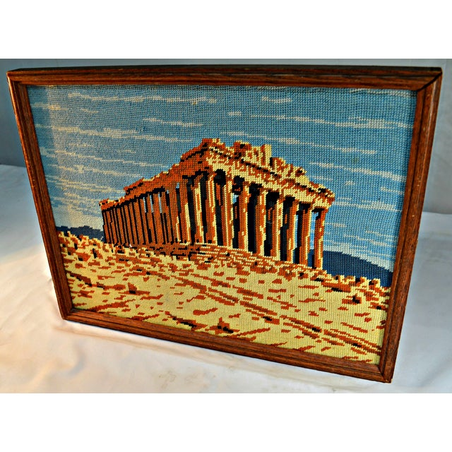 Rustic Antique Greek Parthenon Needlepoint For Sale - Image 3 of 5