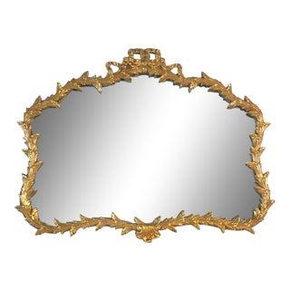 Hollywood Regency Gilt Wood Bow & Leaf Wall Mirror For Sale