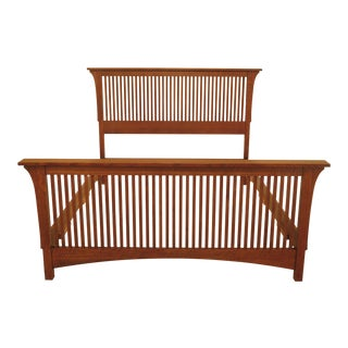 Stickley Queen Size Mission Oak Spindle Bed