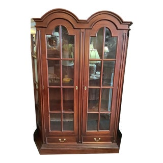 1980s Dark Cherry Double Dome China Cabinet For Sale