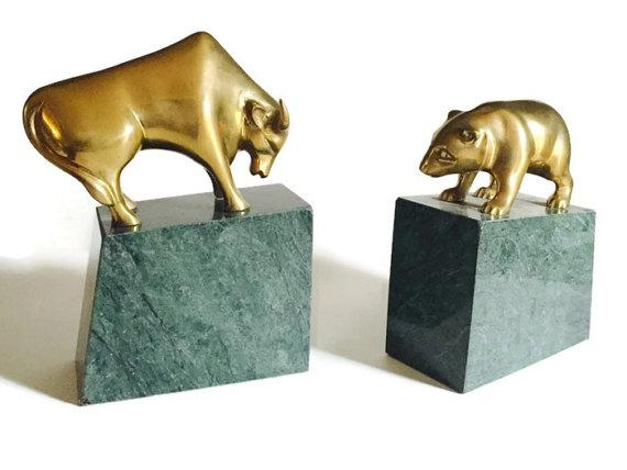 Incroyable Fabulous Vintage Marble U0026 Brass Bookend Set! Featuring The Bear U0026 Bull Of  Wall Street