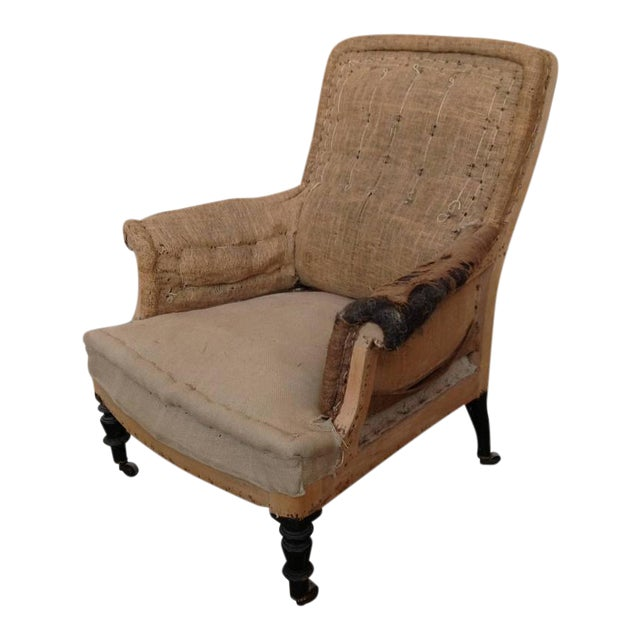 French 19th Century Armchair in Burlap - Image 1 of 9