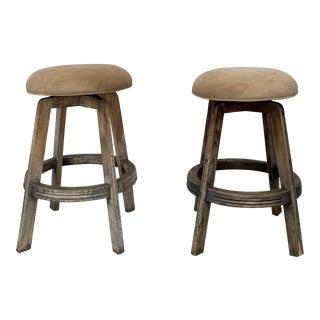 1960s Vintage Teak Base Counter Stools- A Pair For Sale