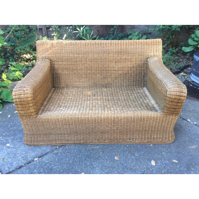 """Bamboo and rattan """"sculptural wicker"""" furniture set in the manner of Eero Aarnio or Michael Taylor, hand made in Thailand..."""