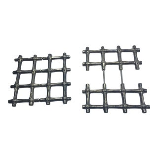 Silverplate Faux Bamboo Trivets - A Pair For Sale