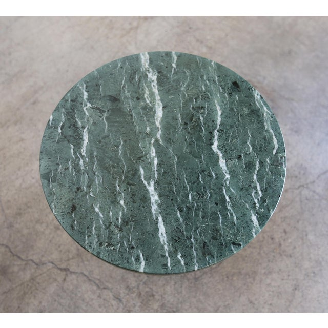 Marble & Stainless Steel Side Tables - a Pair For Sale In Los Angeles - Image 6 of 9