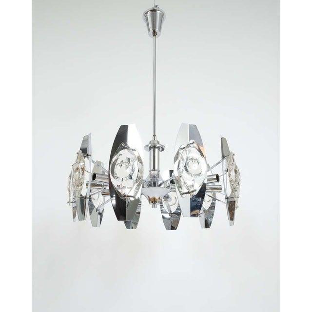1960s Gaetano Sciolari Impressive Chrome Glass Lens Chandelier lamp , Italy 1960 For Sale - Image 5 of 8