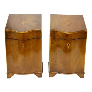 English Inlaid Cutlery Boxes, Pair For Sale