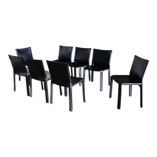 "Mario Bellini Black Leather ""Cab"" Chairs for Cassina - Set of 8 For Sale"