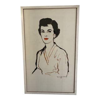 Portrait of a Lady With Red Lipstick 1950s Signed Watercolor For Sale