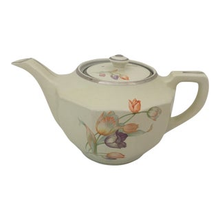Vintage Hall China Cream and Painted Pastel Tulip 5.5 Cup Teapot/Coffee Pot For Sale