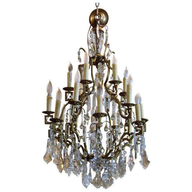 Antique Gold Metal Crystal Chandelier - Image 1 of 6