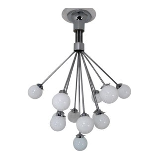 Mid-Century Modern Chandelier With Hand Blown Opaline Glass Globes, 1970s For Sale
