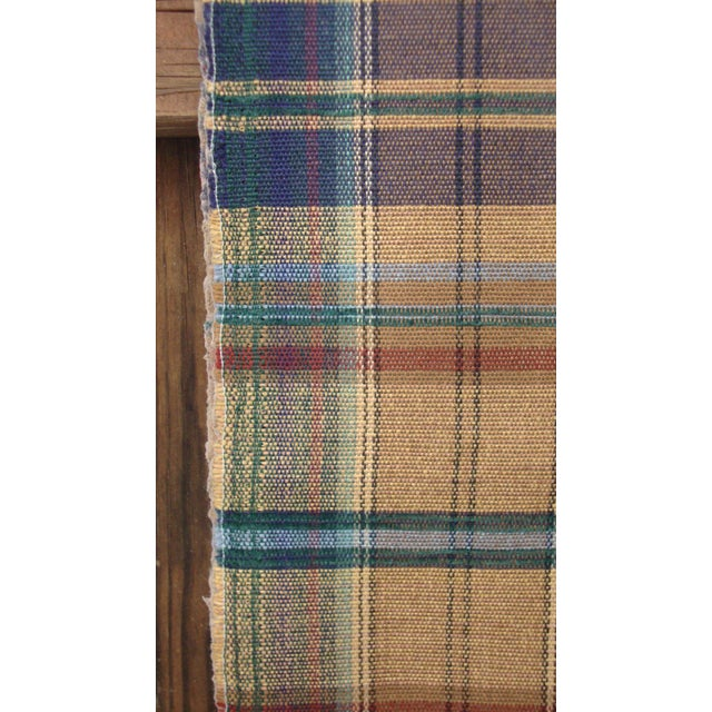Vintage Mid Century Brown Blue Plaid Upholstery Fabric 2 Yards