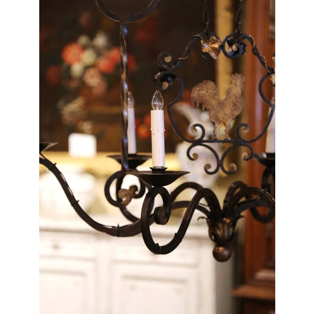 Metal Early 20th Century French Six-Light Iron Chandelier With Center Rooster For Sale - Image 7 of 13
