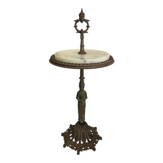 Gothic Revival Rembrandt Round Alabaster and Figural Cast Iron Side Table For Sale