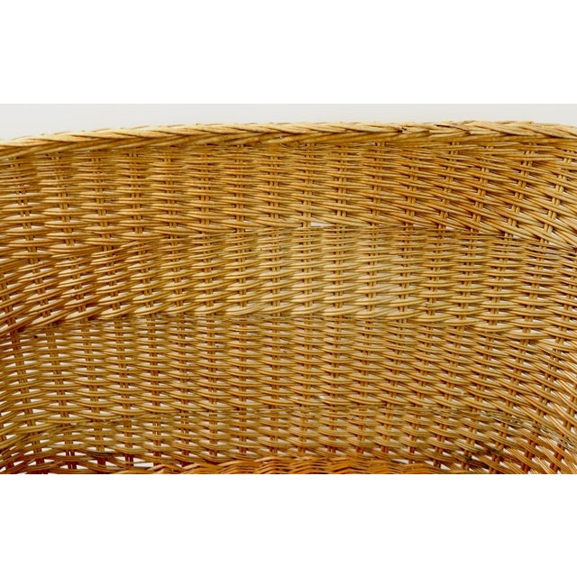 Sand Mod Bar Harbor Style Woven Wicker Settee For Sale - Image 8 of 13