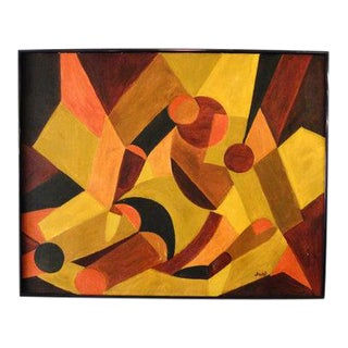 1970s Modernist Style Abstract Oil Painting by Joni Meiskin, Framed For Sale