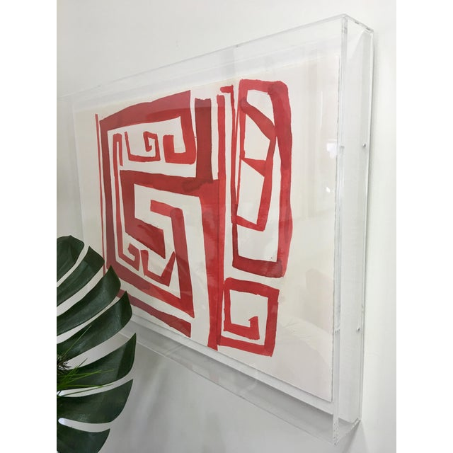 """Zoe Bios """"Cherry Maze"""" in Lucite Box Frame For Sale - Image 4 of 5"""