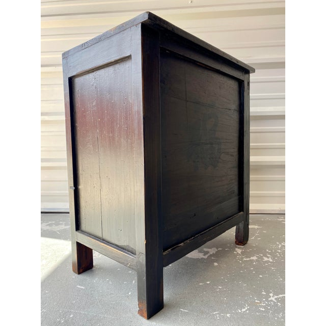 Black Late 19th Century Antique Mongolian Chinese 2 Door Cabinet For Sale - Image 8 of 11