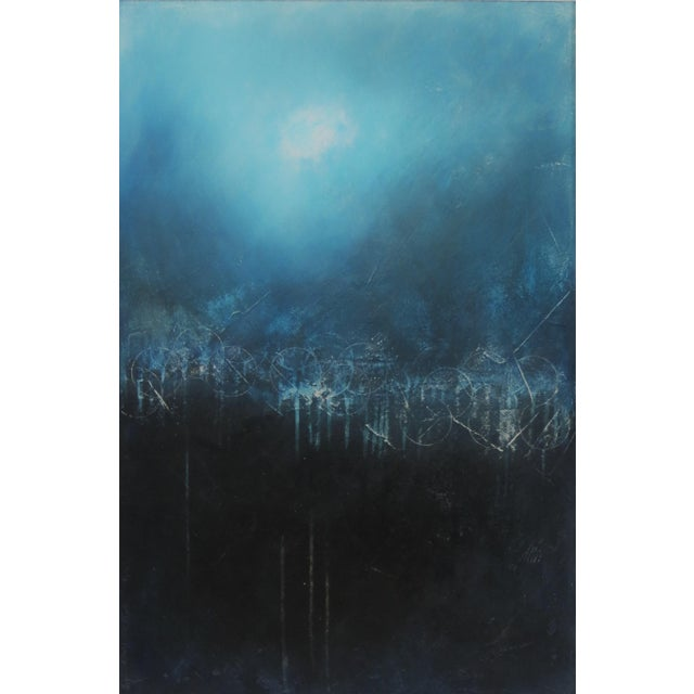Blue Light Over Darkness, Indigo. 2018 Oil on Canvas by C. Damien Fox For Sale - Image 8 of 8