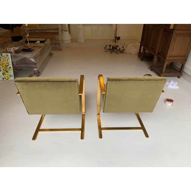 """Pair of Vintage solid brass BRNO chairs designed by Ludwig Mies van der Rohe, reupholstered in """"Jungle Green"""" rubbed..."""