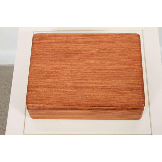 Contemporary Rectangular Teak Jewelry Box For Sale - Image 3 of 9