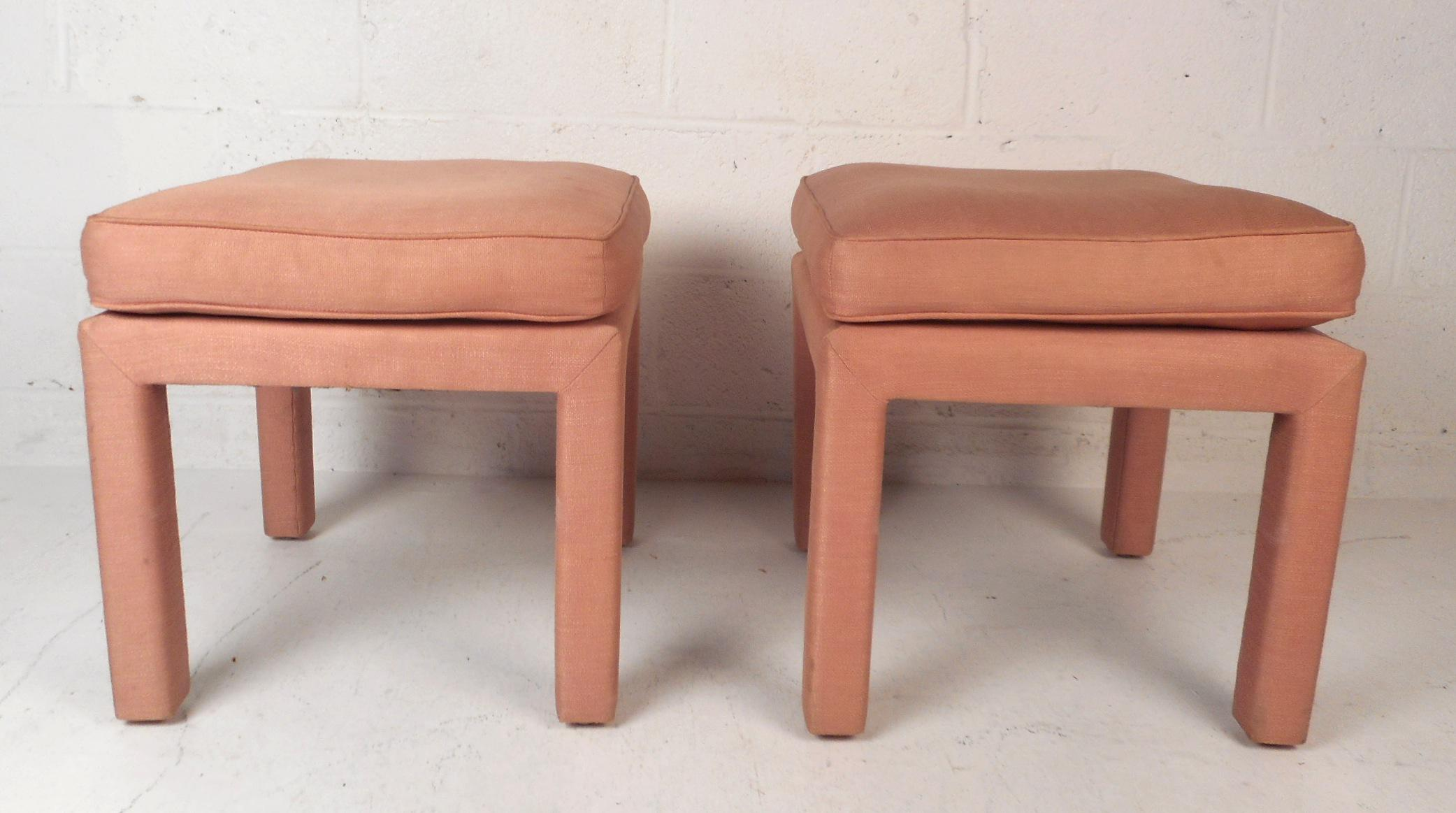 A Stunning Pair Of Vintage Modern Ottomans Covered In Soft Pink Upholstery.  A Stylish And. Mid Century Modern Pair ...