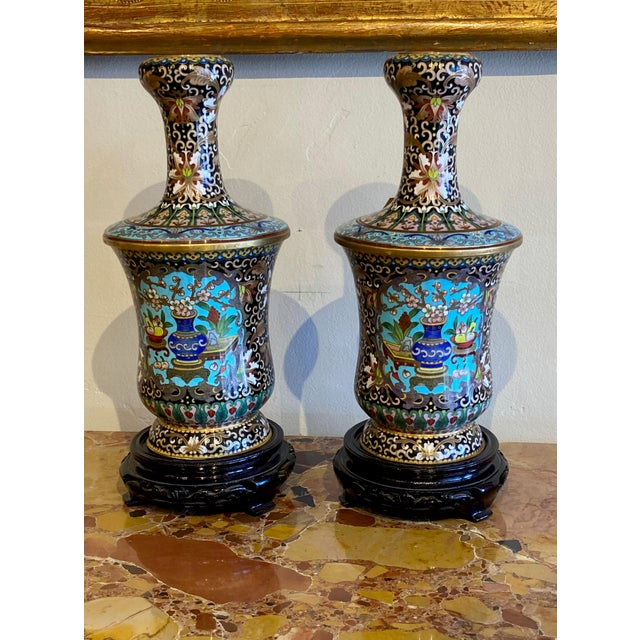 19th Century Chinese Cloisonné Vases-a Pair For Sale - Image 9 of 10