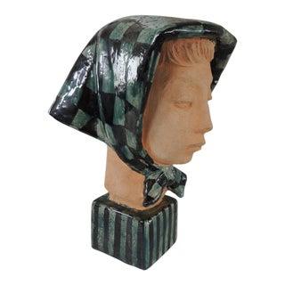 "1950s Mid-Century Danish Modern Studio Pottery ""Girl in Kerchief"" Bust by Helge Christoffersen For Sale"