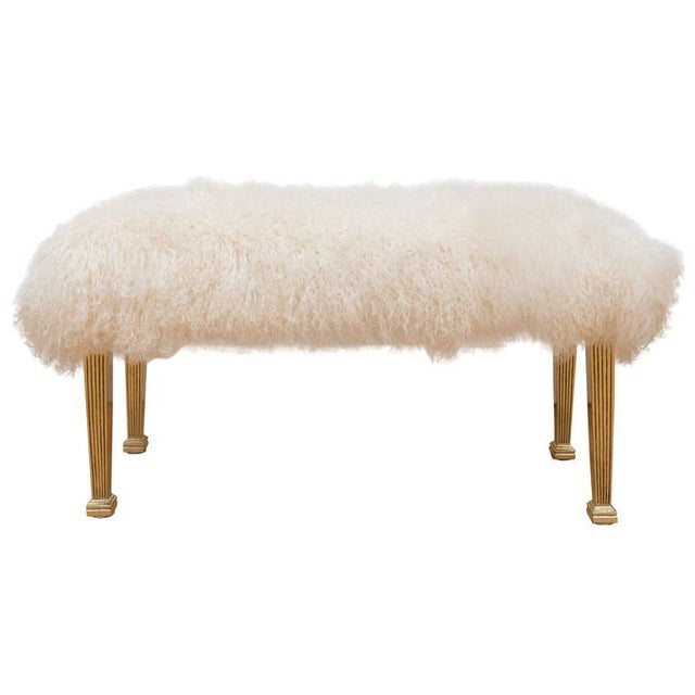 Polished Brass and Mongolian Wool Bench For Sale In San Francisco - Image 6 of 6
