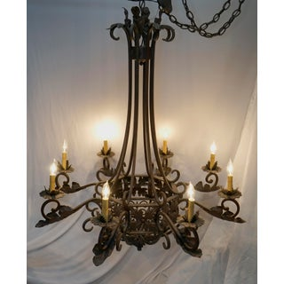 1920s Wrought Iron French Style Antique Eight Light Chandelier Preview