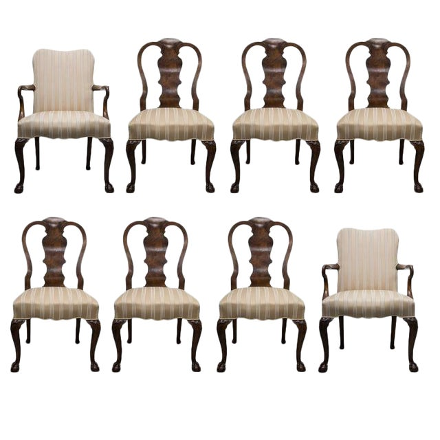 19th Century Fine Set of Eight Walnut Queen Anne Style Dining Chairs For Sale